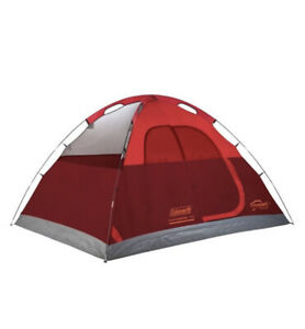 NEW-Coleman Flatwoods II 4-Person Dome Tent - Gray/Red