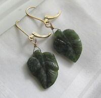 geschnitzte grüne Jade Blatt Ohrringe 585 14K Gold GF Brisur Ohrhänger Nephrit