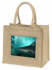 Shark Photo Large Natural Jute Shopping Bag Christmas Gift Idea, AF-SHA1BLN