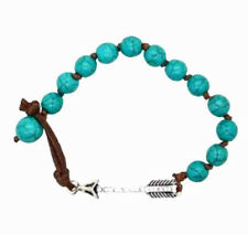 Rhinestone Arrow Turquoise Howlite Beads Knotted Cord Spacer Bracelet