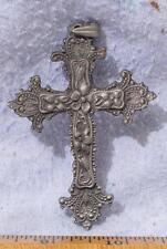 Vintage Zinn Metall Kruzifix Anhänger Mv