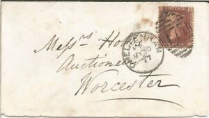 GB QV 1877 COVER PENNY RED PLATE 172 'RC' FROM CHELTENHAM TO WORCESTER 30TH MAY