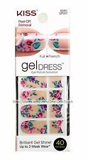 KISS* 40 Gel Dress SUGAR+SPICE Polish Solution Strip NUDE+FLOWER French/Full 2/3