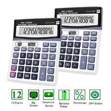Brand New 12 Digit Desk Calculator Jumbo Large Buttons Solar Desktop Battery UK