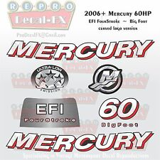2006+ Mercury 60HP BF Crv Decal EFI Four Stroke Big Foot Repro 7Pc Curved
