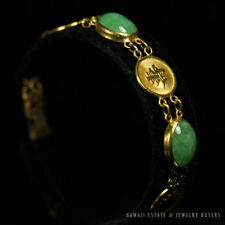 NATURAL GREEN JADEITE JADE CHINESE GOOD LUCK 22K YELLOW GOLD BRACELET