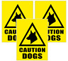 3 x CAUTION DOGS SIGNS, MULTI OPTIONS, STICKER / MAGNET / BOARD  (fs3)
