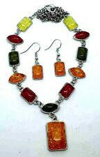 Gorgeous Muti Color Faux Amber Necklace & Earrings Tibet Silver Very Pretty