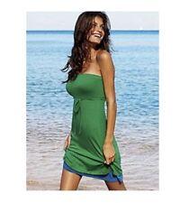 Victoria's Secret Double Layer Bra Tops Green Blue Cotton Strapless