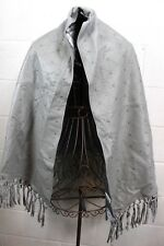 PAMELA MCCOY Gray Leather Fringe Studded Eyelet Cutout Poncho Shawl Wrap OS