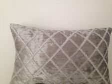 Light Grey Silver Diamond Stitch Suede Velvet Soft Pillow Cushion Cover 30x50cm