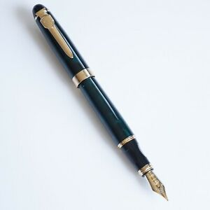 Jinhao X450-A Green Marble Fountain Pen, MEDIUM Nib Gold Trim - UK SOLD!