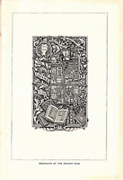 "1903 Antique Fine Art Print BookPlate of The Grolier Club 10X6"""