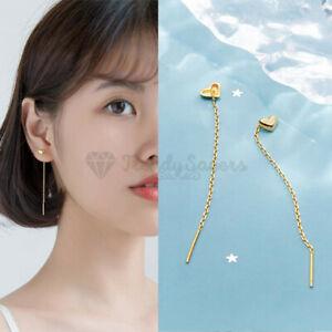 Classic Minimalist Gold Heart Drop Dangle Chain Tassel Threader Fashion Earrings