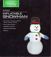 4 Ft Self Inflatable Snowman Light up Christmas Blow up Yard Decoration