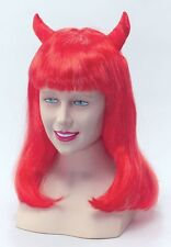 Red Devil Lady Parrucca Con Corna Halloween Fancy Dress Parrucca Adulto NUOVO P414 Donna