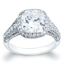 3.34 Ct. Cushion Cut Diamond Engagement Ring 18K (GIA)