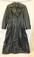 Danier Womens Long Black Dress Coat Leather Great Used Condition Size P