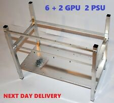 Aluminium Cryptocurrency Open Mining Rig Frame Case For  8 GPU 1 or 2 PSU 6 + 2