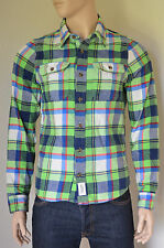 NUOVO Abercrombie & Fitch Railroad intaglio FLANNEL SHIRT GREEN & Navy Blu Plaid XL