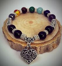 UK Ladies 7 Chakra Gemstone Healing Energy Crystal Heart Charm Bracelet Bangle
