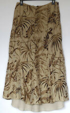 Charter Club Brown Tan Floral Print Silk/Linen Blend Lined Long Maxi Skirt 8