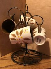 New listing Temptations Old World Brown Set Of 4 Mugs With Stand