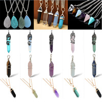 Luxury Hexagonal Quartz Crystal Healing Point Pendant Fit Necklace Gift