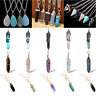 Luxury Hexagonal Prism Quartz Crystal Healing Point Pendant Fit Necklace Gift