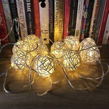 NOMA 10 Solar/Battery White Wicker Rattan Ball Fairy Lights Christmas 2.7m