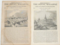 Lot of 2 1835 GLASGOW SCOTLAND HISTORY ILLUSTRATED Penny Magazine Articles