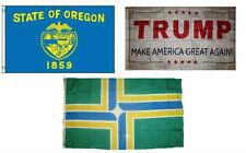 3x5 Trump White & State of Oregon & City of Portland Wholesale Set Flag 3'x5'