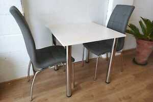 Small and functional table and 2 chairs, white and grey, kitchen set, dining set