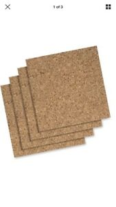 "Quartet Cork Tile Or Roll Bulletin Board - Cork Surface 4 Pc 12"" x 12"" W Hrdwre"