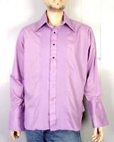vtg 60s 70s minty L&M Fashions Purple Tuxedo Pleated Formal Dress Shirt mod 3XL