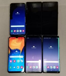 AS IS LOT OF 6 Samsung Galaxy Note8/S8+/A20 - 64GB - Black Verizon T-Mobile 134