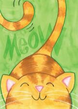 """Meow Decorative Garden Flag 12.5"""" x 18"""" Smiling, Cheerful, Content Kitty Cat"""