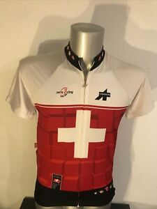 Assos Jersey Cycling Road White Red Swiss Size L