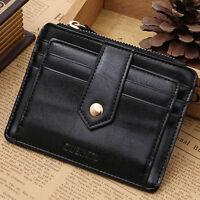 Women Men Genuine Leather Slim Wallet Card Holder Zipper Coin Pocket Purse Black