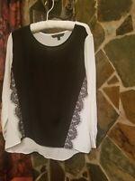 DORA LANDA Black/White 100% Silk Blouse Long Sleeve Womens Size L Pre Owned