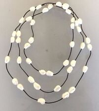 "60"" LONG FRESH WATER PEARL LEATHER CORD NECKLACE"