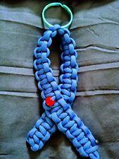 Diabetes Awareness Blue Ribbon Paracord Keychain