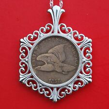 US 1858 Flying Eagle Small Cent Coin Solid 925 Sterling Silver Necklace NEW