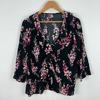 Tokito Womens Top 12 Black Floral Scoop Neck 3/4 Sleeve