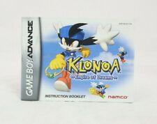 Klonoa Empire of Dreams Nintendo Game Boy Advance Manual Only