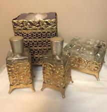New listing Vintage Brass Filigree Vanity Set Tissue Box Bureau Box & Lid Perfume Bottles