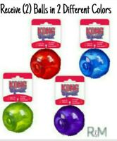 Kong SQUEEZZ - SET OF (2) LARGE Balls (DIFFERENT Colors) Will Squeak W/Puncture!