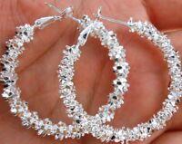 """Wholesale Women 925 Silver """"Stars"""" Hoop Dangle Earring Wedding Party Jewelry"""