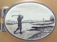 Money Clip Oval Barlow Scrimshaw Carved Painted Art Golf Golfing Golfer 539402