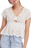 Free People Womens Truly Your OB812075 Top V Neck Ivory Combo White Size XS